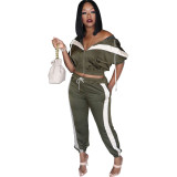 9102321 cheap price patchwork short sleeve hooded tracksuit Woman Pants Suit Two Piece Outfits Set