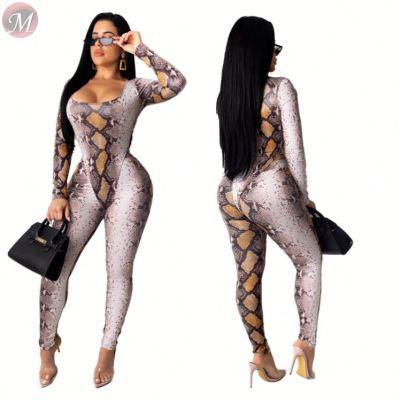 lowest price snakeskin print long sleeve square neck bodysuit jumpsuit two piece Autumn Clothes Women Pant Sets
