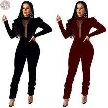 hot selling fashion winter pleuche mesh splice petal sleeve heaps pants jumpsuit High Womens Clothing Fashion Jumpsuit