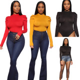 9120317 casual pleated sleeve slimming solid long sleeve bodysuit blouse Tops And Blouses Women