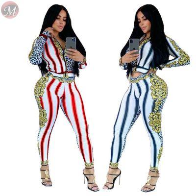 fashion new positioning print floral stripe zipper sports Woman 2 Piece Set Women Clothing
