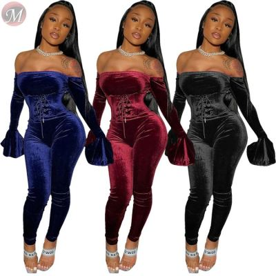 sexy off the shoulder bandage trumpet sleeve top bodycon pants velvet Winter Two Piece Set Women Clothing Sexy