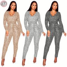 fashion long sleeve solid color include belt sequins nightclub long jumpsuits High Womens Fashion Clothing
