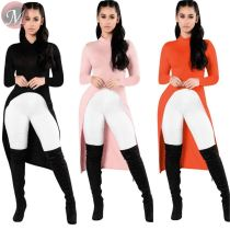 queenmoen hot selling new fashion design ladies top stand collar front slit autumn long knitted rib women blouse