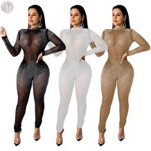 cheap price hot drilling rhinestone mesh see through club wear sexy jumpsuits High Fashion Women Clothing