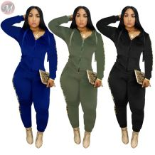 hot onsale side sequin stripe solid hooded hoodie trouser two piece Sweat Suits High Womens Fashion Clothing