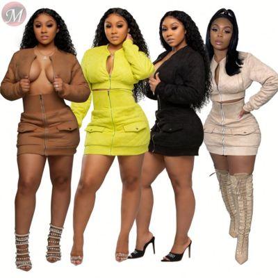 new design solid zipper crop coat high waist wrap mini skirt Outfits Sexy Two Piece Set Women Clothing Dress