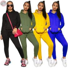 popular 4 colors pockets hooded sweat suit solid casual sport hoodie Two Piece Set Women Clothing