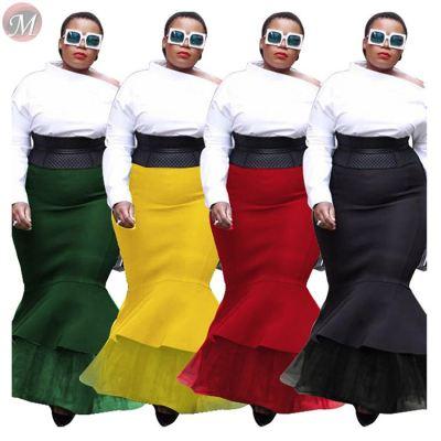 popular elegant lace hem solid fishtail latest design 2019 fashion Plus Size clothing long maxi skirt