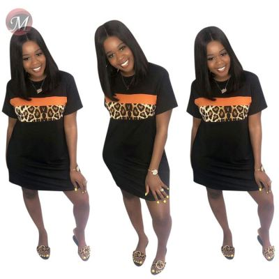 queenmoen hot sale black round neck leopard patchwork short sleeve casual short tshirt dress