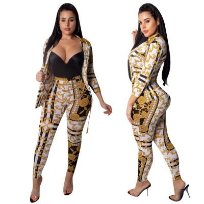 women fashion print blazer and pencil pants two piece set outfit OPL5258