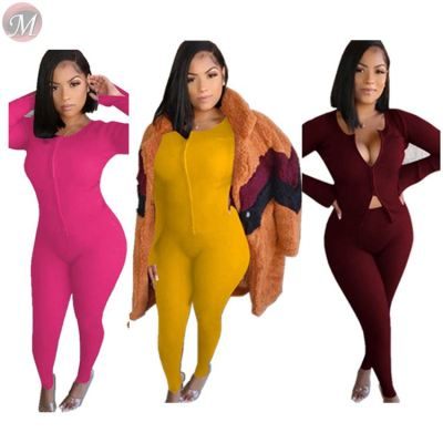 newest solid rib fabric two-way separating zip blouse 2 piece set Woman High Fashion Womens Clothing