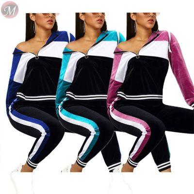 cheap apparel wholesale suede patchwork leisure sports sweat suits Winter Clothes Two Piece Set Women Clothing