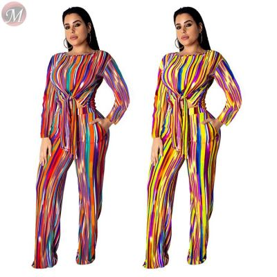 stylish rainbow vertical stripe casual band straight pants set Fall Clothes Outfits Women Two Pieces