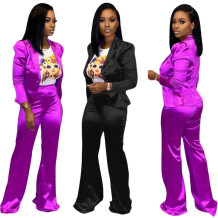 9102527 new casual solid color blazer suit straight leg Fashion Outfits Woman Two Piece Pants Suit Set