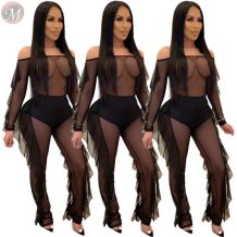 hot sale off the shoulder ruffles mesh perspective jumpsuit One Piece Wholesale Jumpsuits Clothing Woman