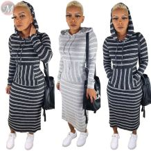 new design casual front pocket striped hooded hoodie dresses Maxi Long Ladies Dress Fashion