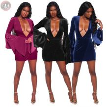 good quality deep v neck layered trumpet sleeve velvet mini dresses Club Casual Women Dresses