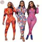 new casual net fabric printed long sleeve bodycon jumpsuits Rompers High Womens Fashion Clothing