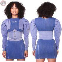 design fashion contrast color puff sleeve wrap hip mini dress Bodycon Casual Ladies Dress Fashion