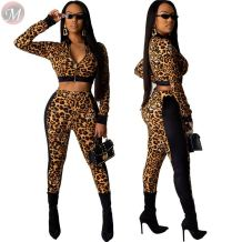 best seller leopard zipper short top splicing two piece Sweat Suits High Fashion Womens Clothing
