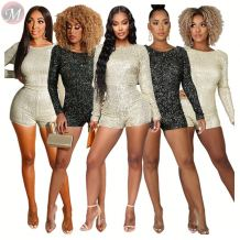 wholesale backless long sleeve sexy short sequin romper night club High Womens Fashion Clothing jumpsuit