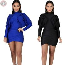 fashion new solid color batwing sleeve pleated bodycon dresses Irregular Designer Mini Casual Dresses Women
