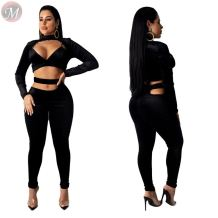 latest design black sexy crop top bodycon pants set Clothing 2 Piece Set Women