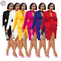 casual fashion o-neck waist ruffles elegant office knee length dresses Solid Fashion Ladies Midi Dress