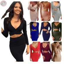 stylish multi-colors across wrap chest long sleeve bodycon club dresses Short Fashion Ladies Sexy Dress