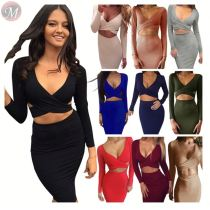 stylish multi-colors across wrap chest long sleeve bodycon club dresses Short Fashion Ladies Sexy Dress