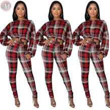 wholesale new fashion check long sleeve blouse printed pants set High Fashion Womens Clothing