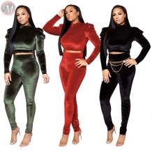 9120515 newest design club style suede solid crop top long trouser Winter Clothes Women Pant Sets