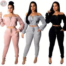 new solid hoodie crop top eyelet band casual suit Pant Sets Two Piece Set Women Clothing