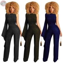 fashion casual silver silk fabric one flared sleeve back zipper jumpsuits Woman Romper Solid Jumpsuit