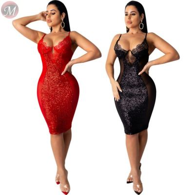 wholesale sexy suspender club party bodycon dresses sequin lace mesh splicing Sequin Midi Ladies Sexy Dress