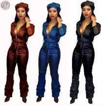 hot sale long sleeve zipper plicated boot cut PU Jumpsuit Clothing Woman