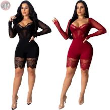 fashion sexy lace long sleeve solid color slimming body Jumpsuit Clothing Woman Clothes