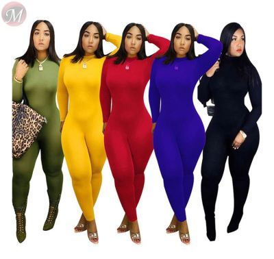casual fashion turtleneck solid color long sleeve High stretch bodycon Clothes Jumpsuit Clothing Woman