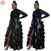 Autumn and winter high waist skirt layered ruffles dress clubwear PU maxiskit fashion skirts Women Winter Clothes