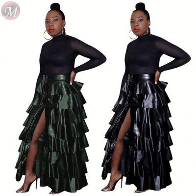 Autumn and winter high waist skirt layered ruffles dress clubwear PU maxiskit fashion skirts Women Winter Clothes