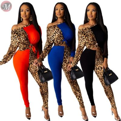 fashion sexy oblique shoulder casual tracksuit leopard patchwork long sleeve Sweat Suits High Fashion Womens Clothing