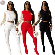 new stylish sequin long sleeve sport style club women two piece pants suit set