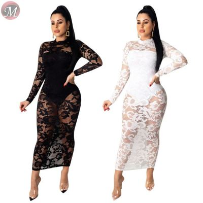 good quality sexy night club skirt set lace embroidery long sleeve perspective women two piece skirt set