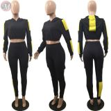best seller long sleeve hooded splicing crop top casual Sport Suit Womens Two Piece Set Women Clothing