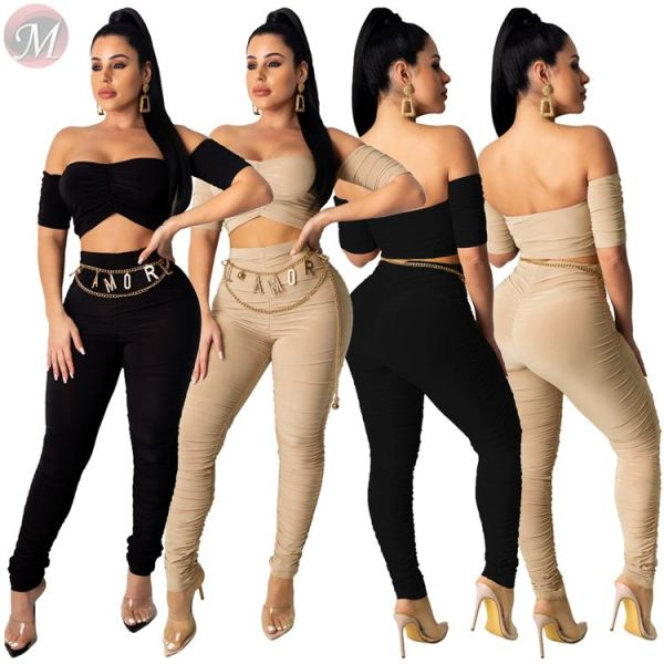 hot selling sexy off the shoulder crop top clubwear plicated tight suit Two Piece Set Women Clothing