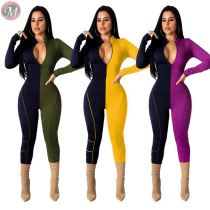 casual fashion sexy leotards clubwear v neck long sleeve zipper contrast color splicing Women Romper Print Jumpsuit