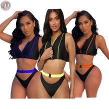 hot sale sexy bikini fashion two pieces swimsuit bandage snap fastener Swimwear Sexy Bikini set