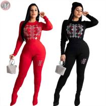 fashion casual sweat suit long sleeve round neck hot drilling night club solid solor 2 Piece Set Women Clothing