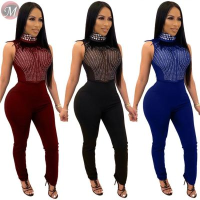 high quality mesh hot drilling feathers Women Sexy clubwear perspective Skinny sleeveless Women sexy Jumpsuit Romper